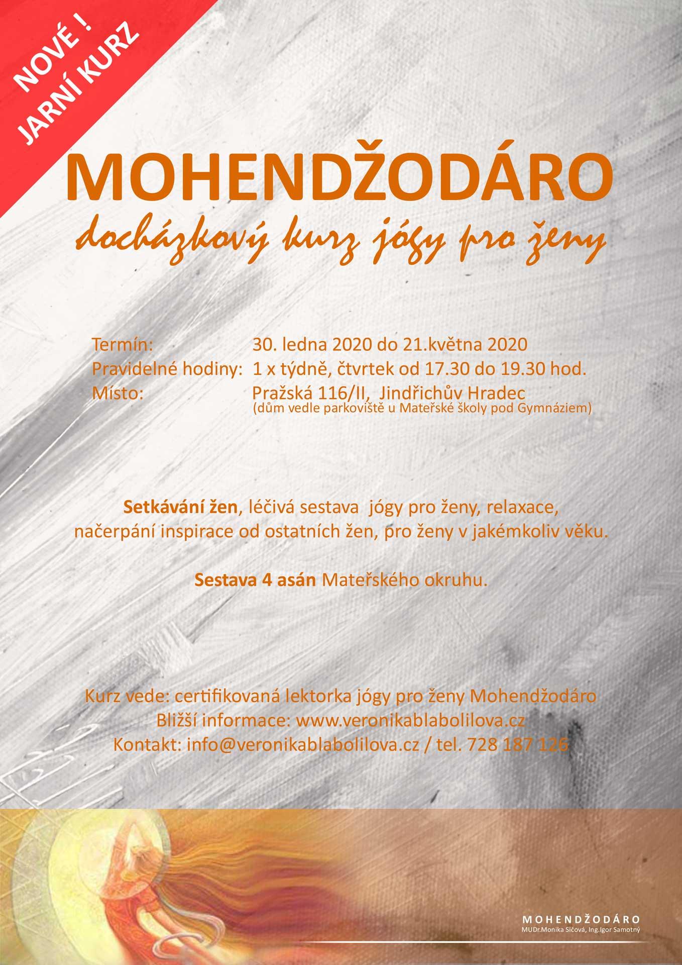 Leták Mohendžodáro - docházkový kurz jógy pro ženy